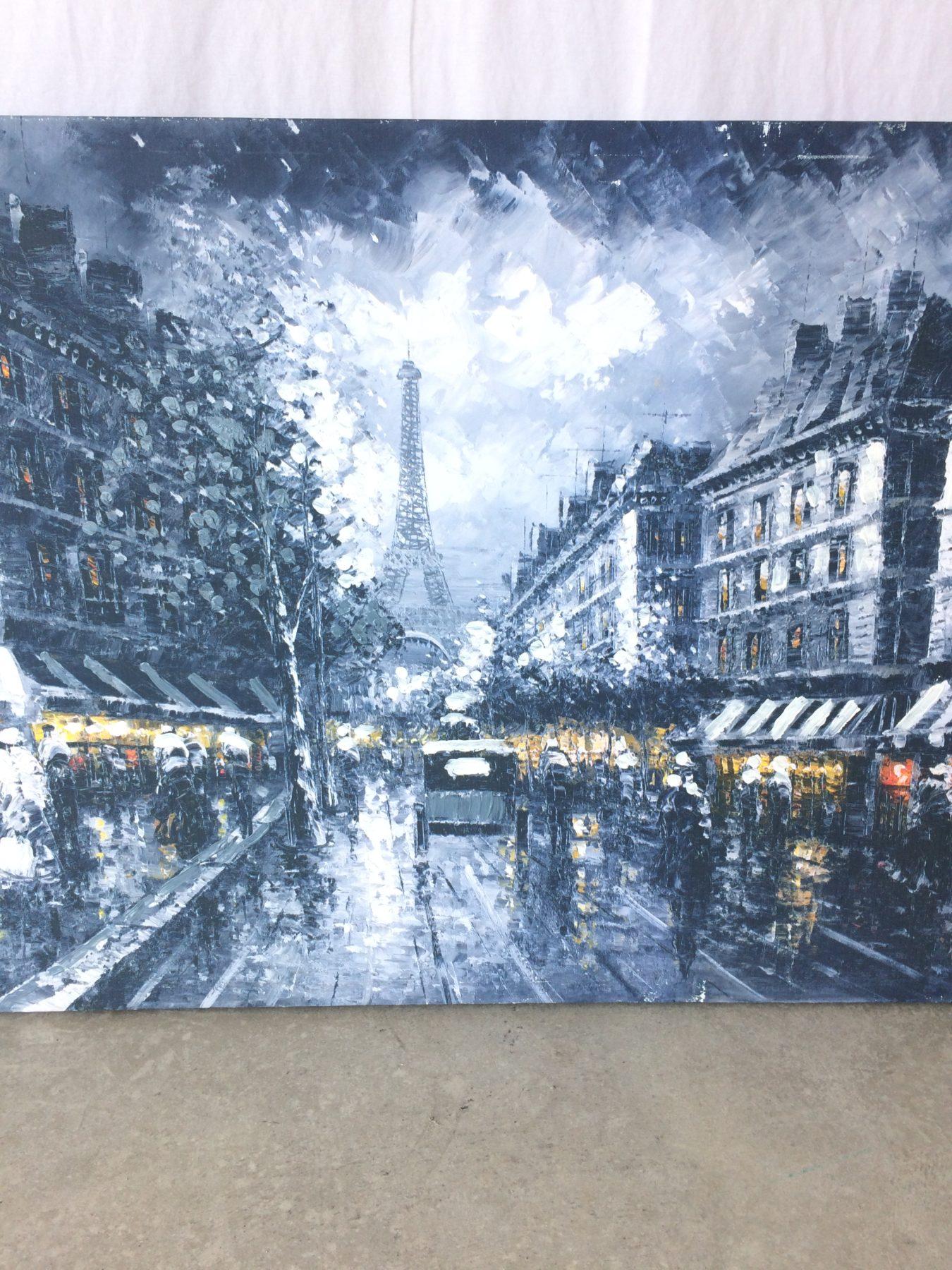 Paris picture with Eiffel tower/street/buildings – canvas – M&M Home ...