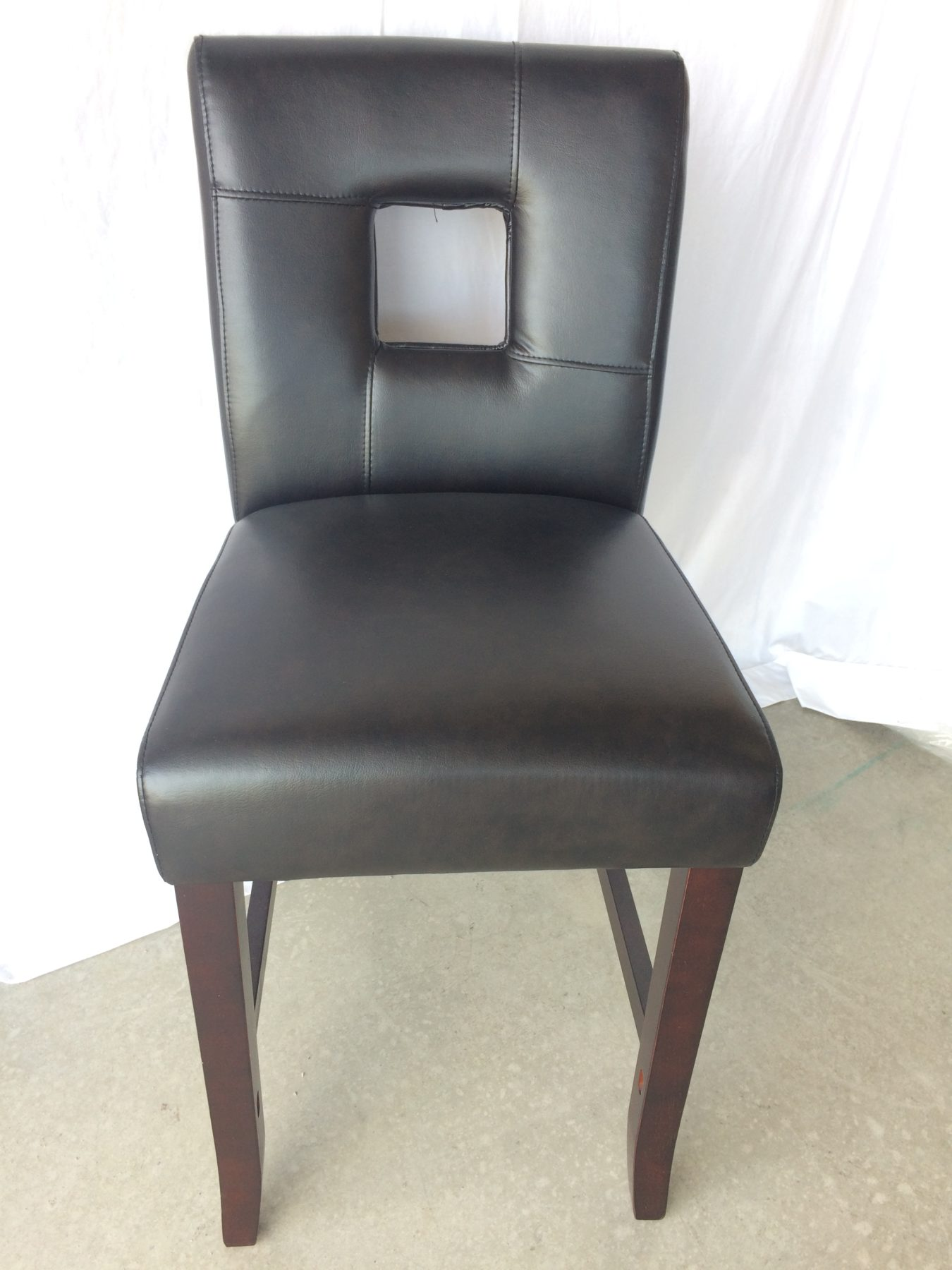 Black Leather Barstool/bistro Chair With Square Back U2013 Mu0026M Home Staging U0026  Furniture Rentals
