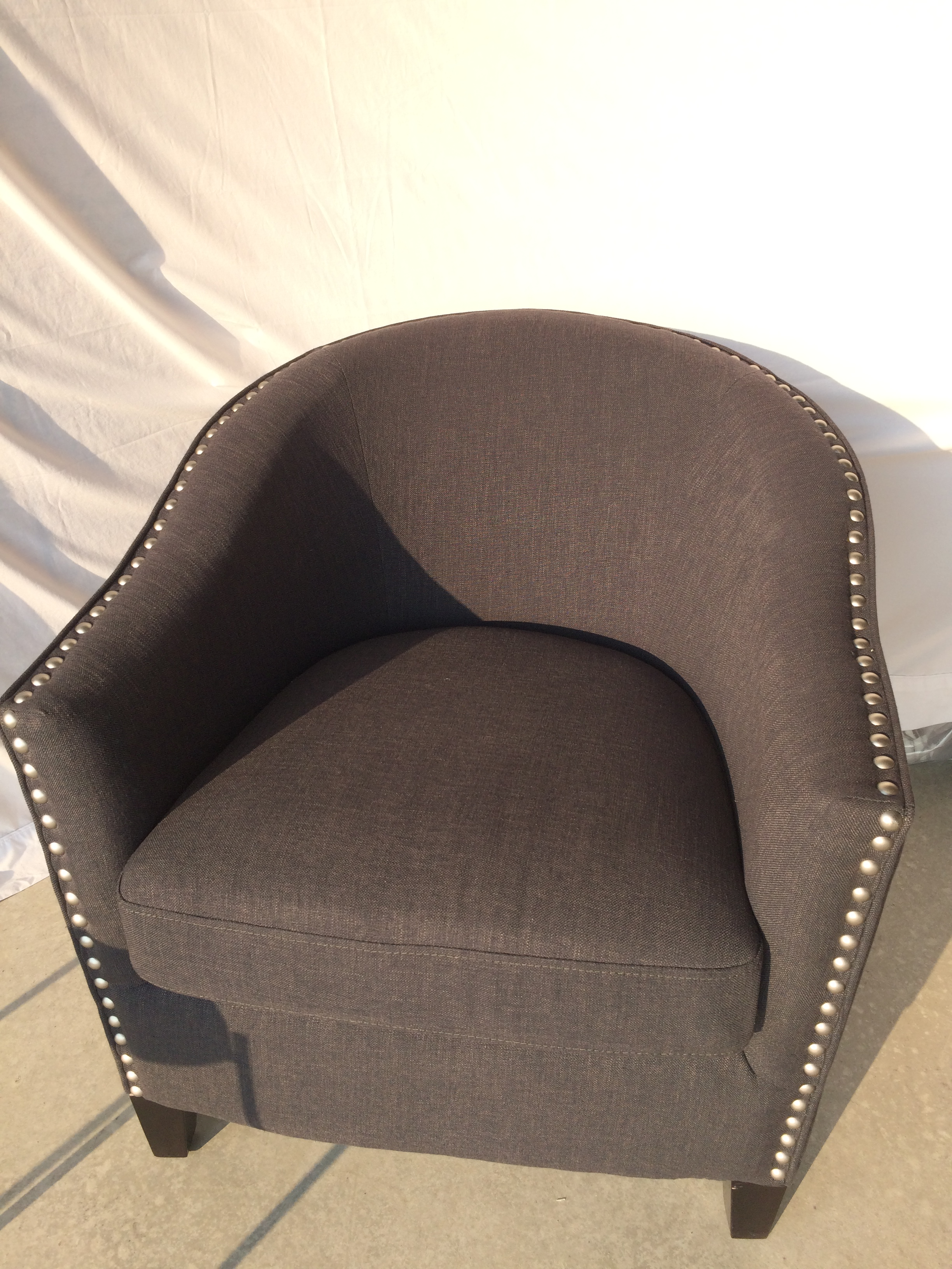 Dark Grey Accent Chair. Dark Grey Fabric With Buttons Accent Chair