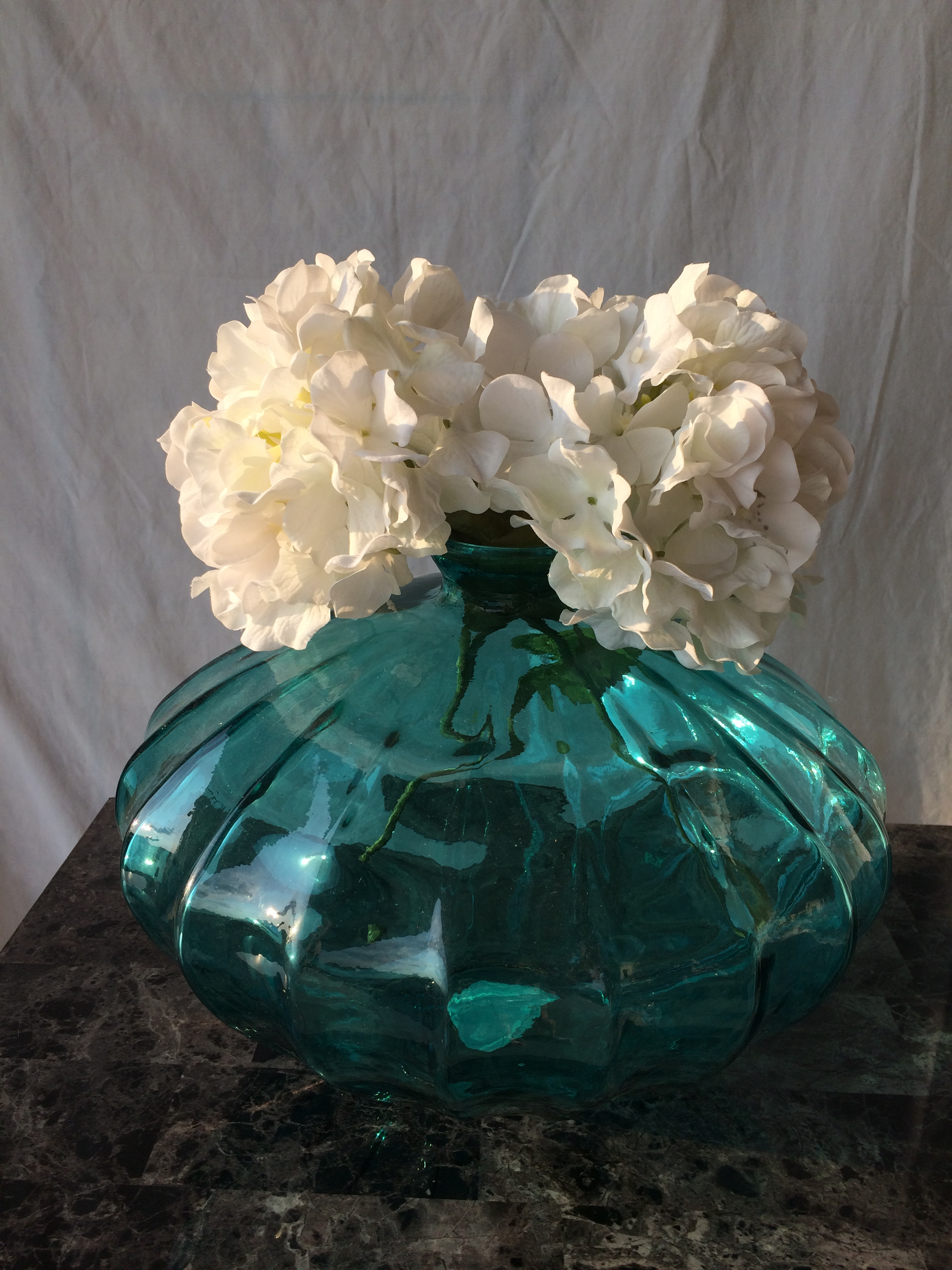 Large Floor Teal Vase With White Flowers