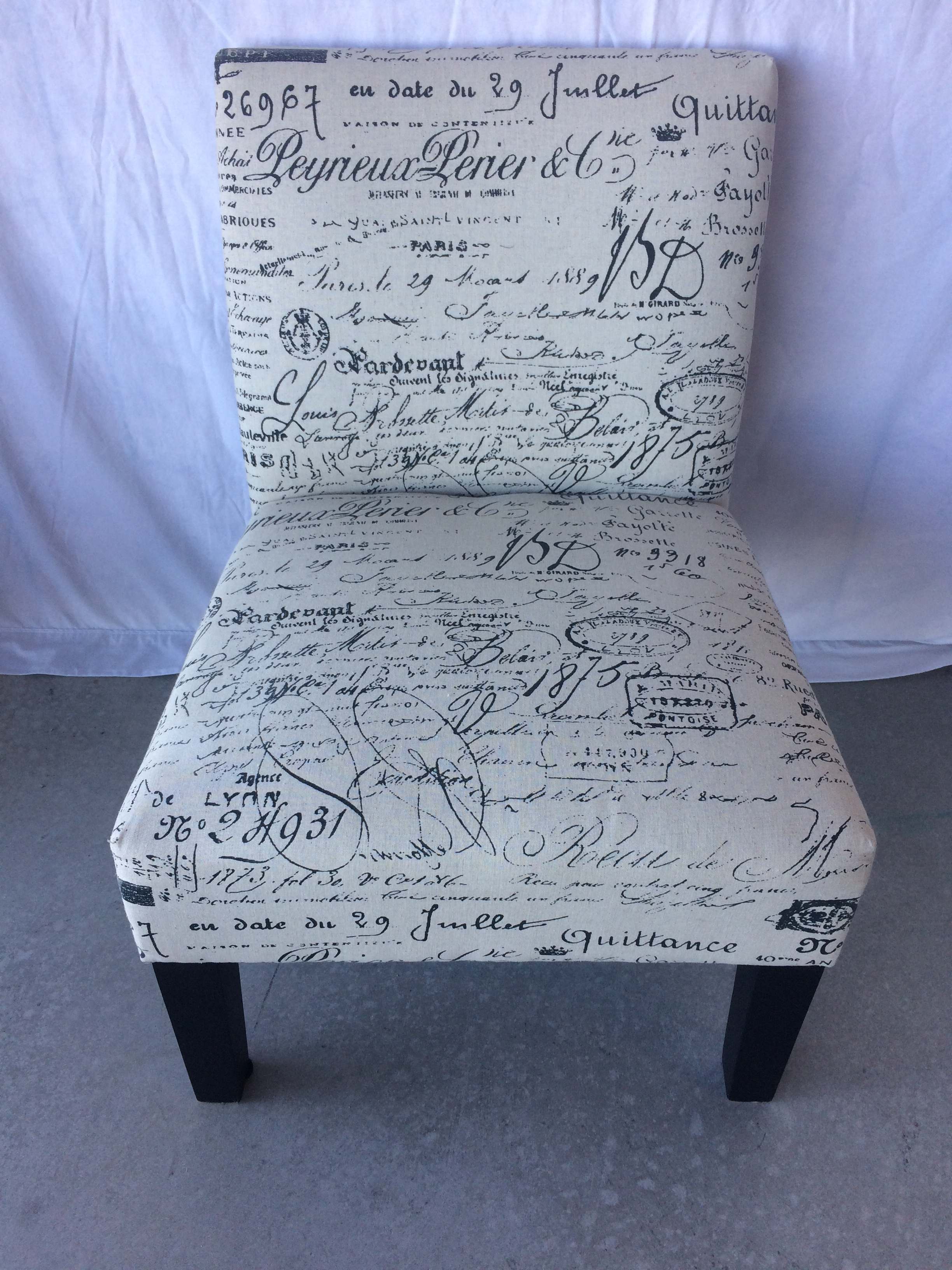 Black French Lettering/Word / Cream Accent Chair