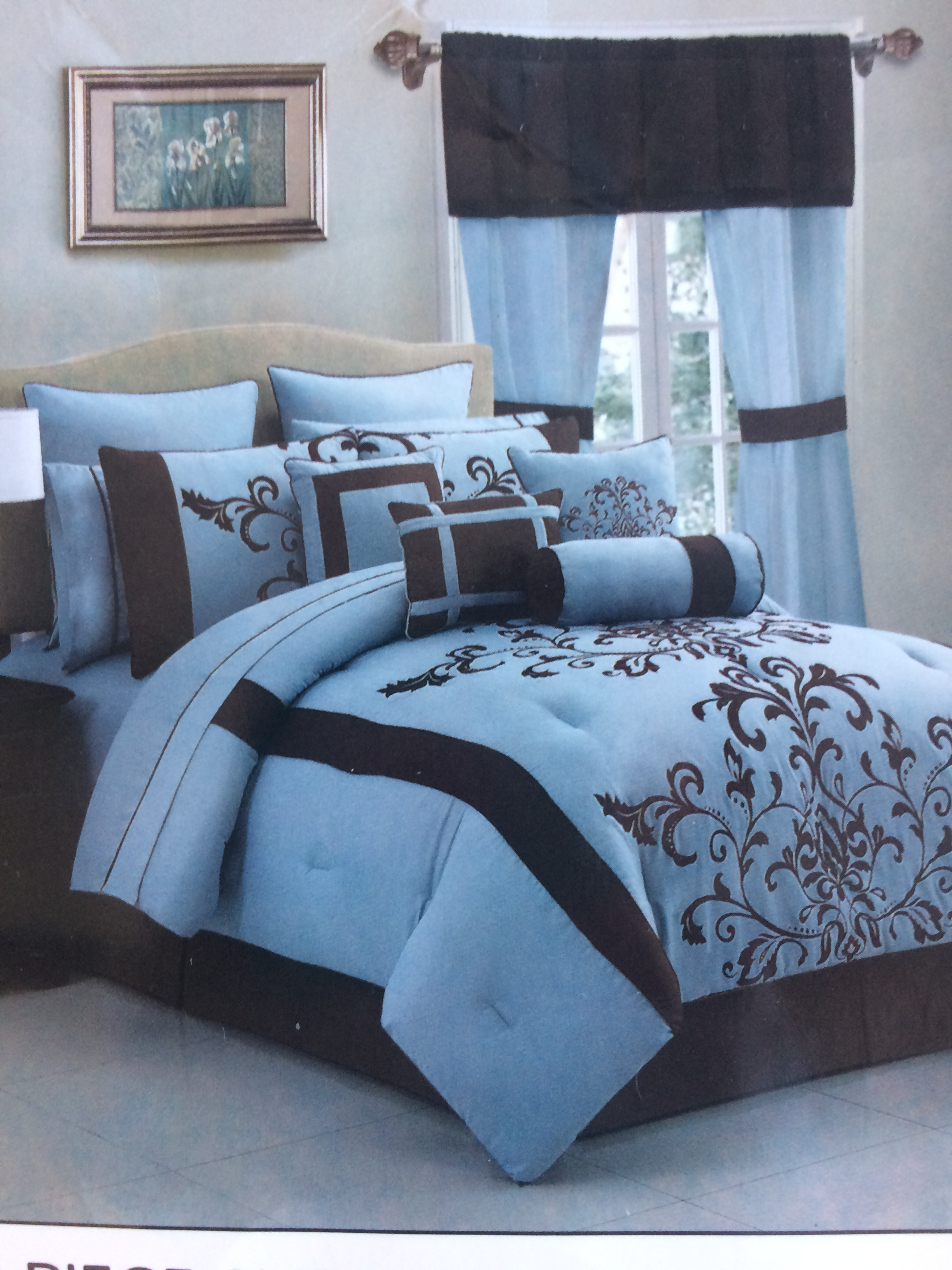 Winston Thomas Teal & White Design forter Sets – 1 – King Size