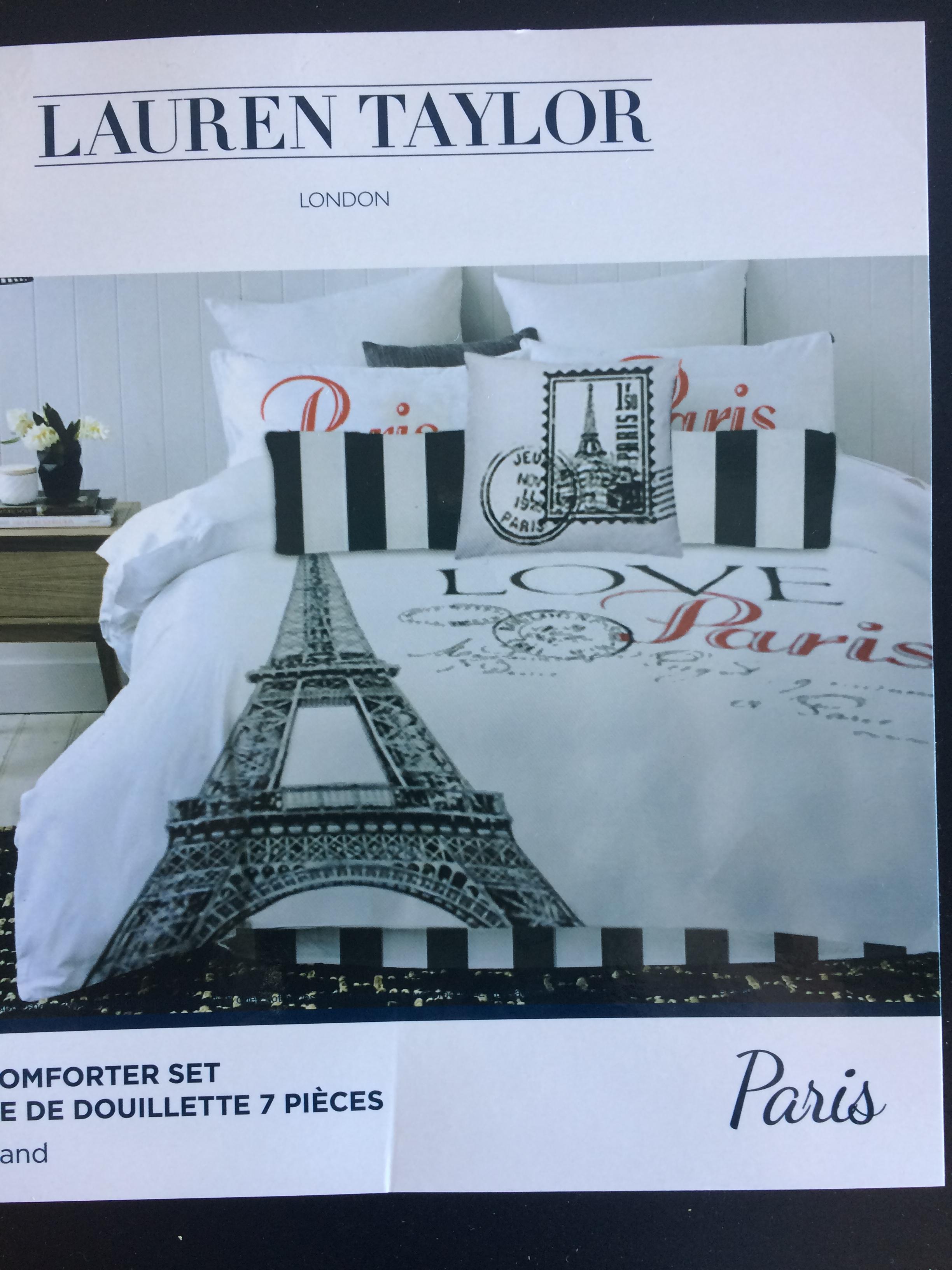 Paris Theme – Black & White Comforter Set – Queen Size – M&M Home ...