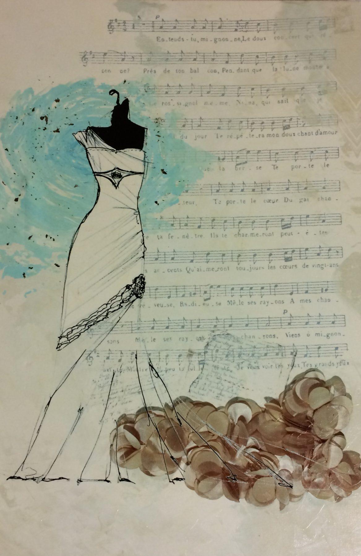 White Brides Dress With Song Lyrics On Cream Background 24 X 36