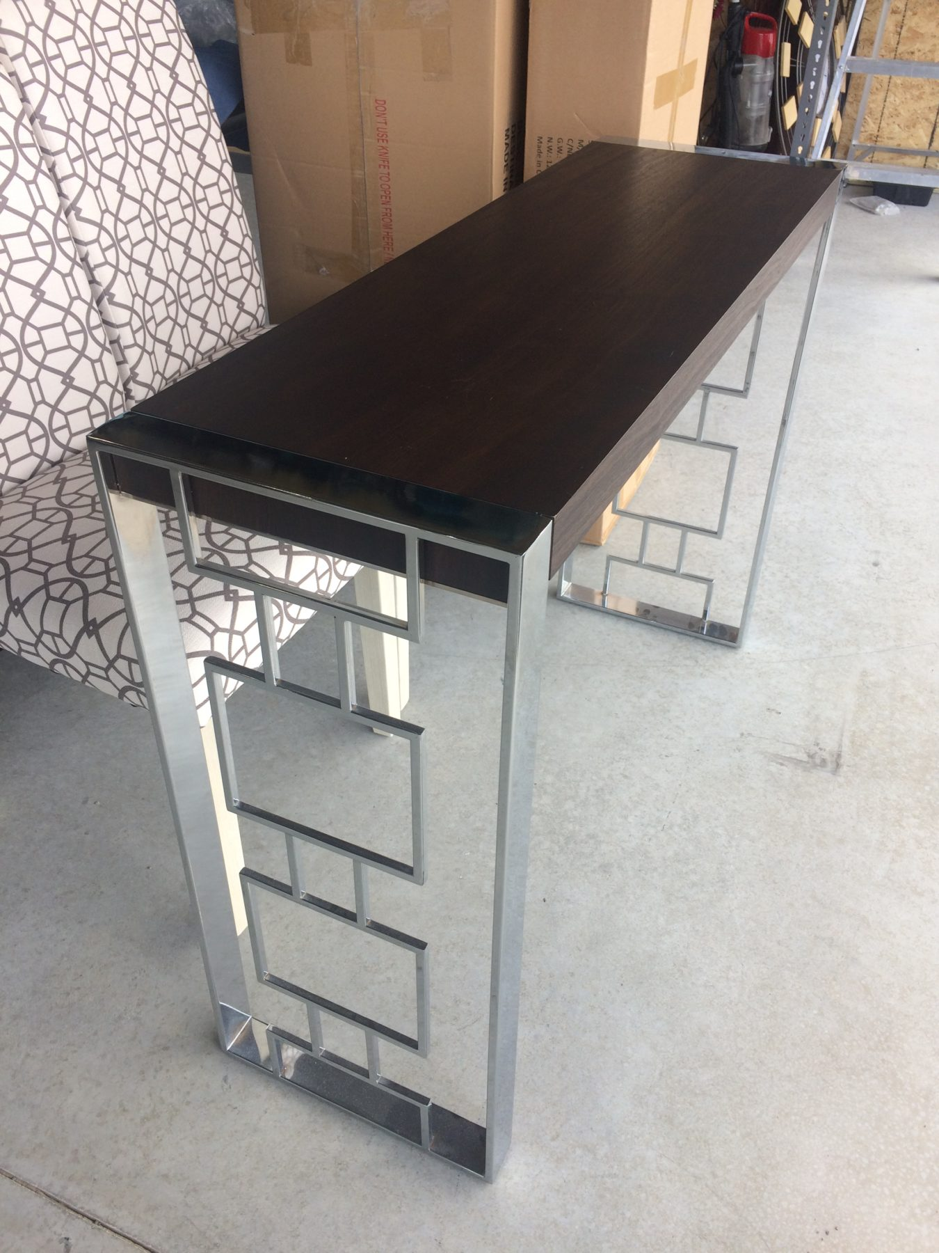 Console Table Dark Wood Top With Silver Chrome Legs M Home Staging Furniture Als