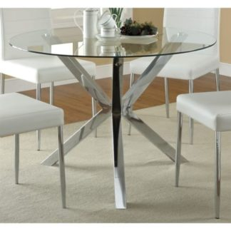 Round Glass Dining Table With Wood Legs Qty MM Home Staging - Round glass dining table with wooden legs